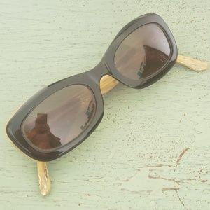 Fendi Black Horn Oval Cat Eye Sunglasses